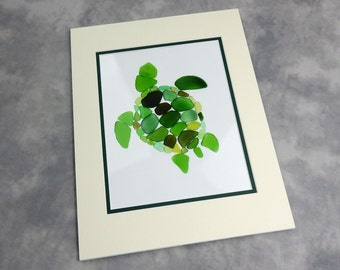 """Sea Glass Turtle Matted Print, Seaglass Mosaic of Sea Turtle, 11x14"""" mat with 8x10"""" print"""