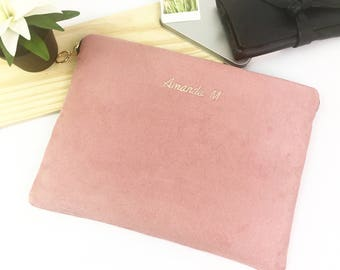 "Personalised Faux Suede 11"" 12"" 13"" 14"" 15"" 16"" Laptop Sleeve Case, MacBook - Air - Pro, ThinkPad, XPS,  HP Spectre, All Size Available."