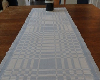 Vintage Swedish Rips Woven Table Runner Blue and White