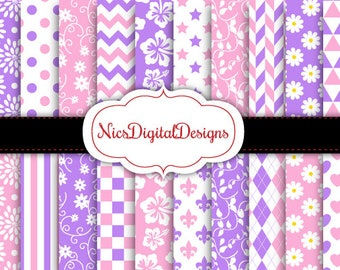 Buy 2 Get 1 Free-20 Digital Papers. Floral Patterns in Purple and Pink (9 no 24) for Personal Use and Small Commercial Use Scrapbooking