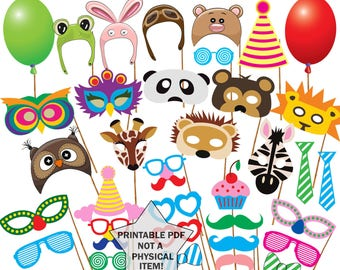 "Printable Animals photo booth props: ""ANIMAL MASK PROPS"" Animal Birthday Party Photobooth Props Kids party props Birthday party props"
