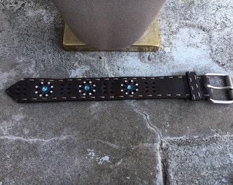 Leather and Swarovski cuff