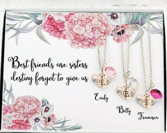 3 best friend necklaces Personalized best friend gift Unique gifts for Best friend necklaces for 3 Best friend birthday gift 3 best friends