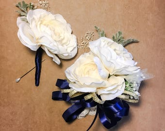 Ivory Rose Corsage and Boutonnière Set