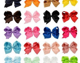 "5"" Hair Bows 20 Colors /Choose Your Colors/Sold Individually/Toddler Hair Bows Clips/Girls Hair Bows Clips/Grosgrain Ribbon Hair Bows 5 inch"