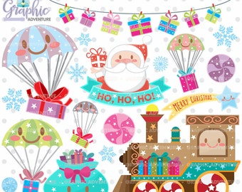 Christmas Clipart, Christmas Graphics, COMMERCIAL USE, Kawaii Clipart, Christmas Clip Art, Christmas Party, Christmas Train, Winter Clipart