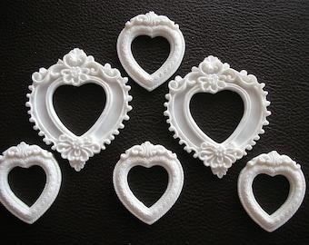 Set of 6 Resin mini frames Resin frame Resin embellishments Scrapbook embellishments Scrapbook frames