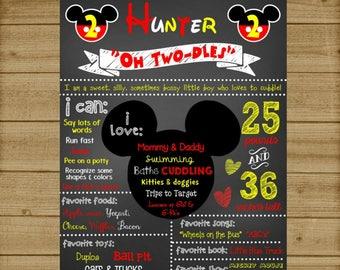 Mickey Mouse Birthday Chalkboard, Mickey Mouse 1st Birthday Chalkboard, Mickey Mouse Sign, Mickey Mouse Birthday Poster, Printable, Custom