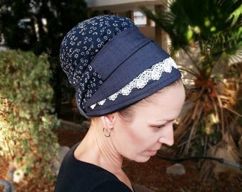 Awesome Jeans and floral tichel, White Lace, Chemo Hat, Nets hat, Turban, Chic tichel,Head cover, Jewish tichel, Israel,Blue Jeans,Head wrap