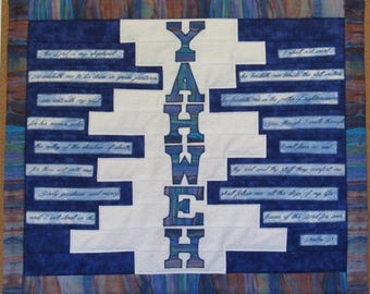 YAHWEH The Lord is my shepherd quilt wall hanging  -  L'Eternel est Mon Berger Tenture Murale Patchwork