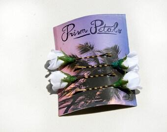 Four White Rosebud Flower Hair Pins