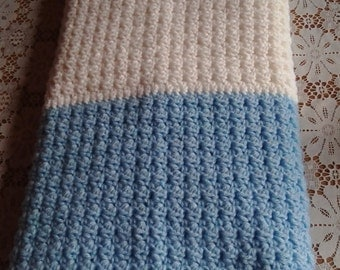 Navy/White/Light Blue Lap Blanket