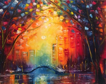 "sunset - city - wall art , trees autumn, abstract oil painting "" Radiance"" by us artist Greg Gilreath"