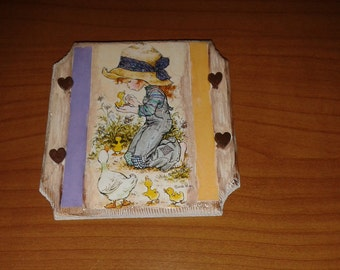 Square wood decoupage Sarah Kay