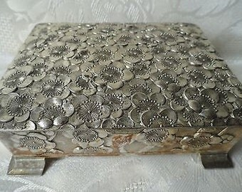 Vintage Silver Plated Wood Lined Cigarette Box
