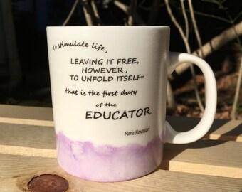 Montessori Quote Watercolor Mug (Purple)