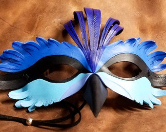 Leather Splendid Fairy Wren Mask - Made to Order