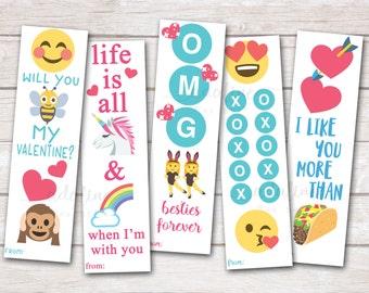 Printable Valentines, Bookmark Valentines, Kids Valentines, Emoji Valentines, Tween Valentines, Taco Valentines, Smiley Face Valentine