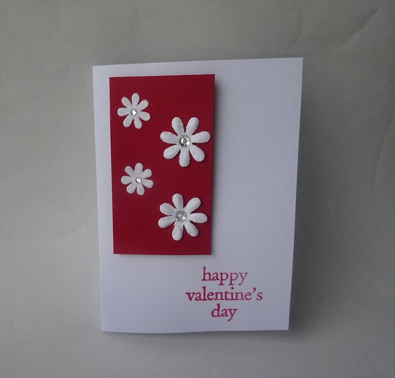 Sale! Valentine's Card - Handmade Card with Flowers - H4