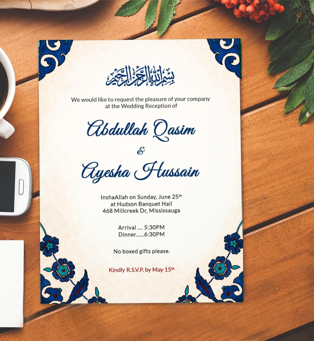 Islamic Wedding EVITE | downloadable invite | Nikkah, Walima email ...