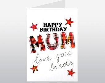 Tartan Words Mum Birthday card WWTW06