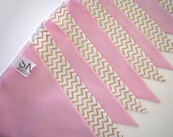 Nursery/Girls Pink and Gold Chevron Handmade Fabric Bunting - 10 Flags, 2 M - Pink and Gold Chevron Fabric
