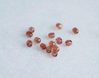 25 Czech Glass Fire Polished Beads - light transparent amber - CRAFTNL