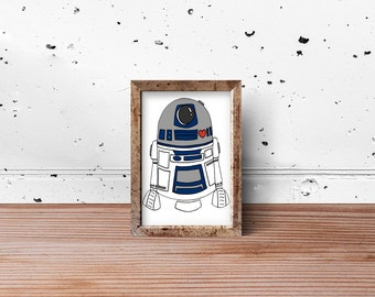 With Love from R2D2: an original signed print of this sweet robot from Star Wars. Star Wars, R2D2 robot, fan art
