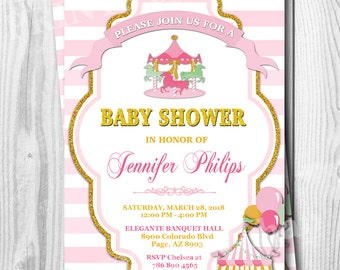 Carousel Invitation, Baby Shower Invitations, Carousel Carnival Baby Shower Invitation, Carousel Birthday Invitation, Carnival, Digital File