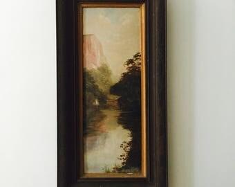 Antique Original Oil Painting Amazing Fjord waterway