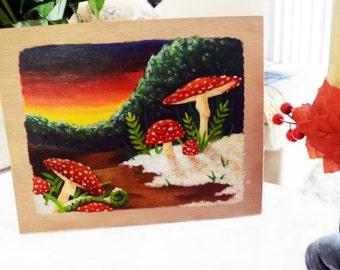 Amanita Muscaria - Snowy Christmas - Original Painting
