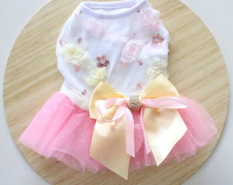 Pink tulle bowknot dress / Flower dress / Pink and peach dress for rabbits, dogs and small pets