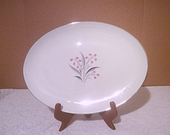 Princess Flair oval serving platter, gray and pink floral pattern Tru-Tone USA  Christmas gift