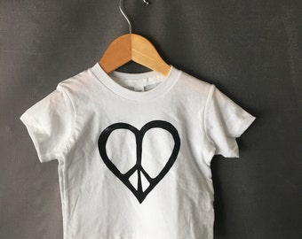 ready to ship | peace heart t-shirt 6-12 months WHITE