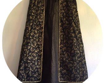 Vintage 70's Black & Gold Maxi Skirt Size 10