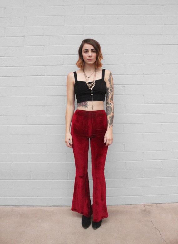 Dahlia Pants ~ Ox Blood Stretch Velvet High Waisted Bell Bottoms