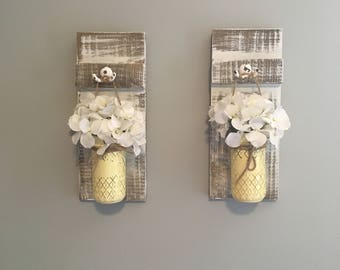 hanging mason jar lanterns, flower lanterns, hanging mason jar decor, mason jar wall decor, wall decor, wall art, rustic wall decor,
