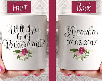 Will You be my Bridesmaid - Custom Coffee Mug - Bridesmaid Proposal Watercolor Floral Mug - Bridesmaid Gift Mug - Blush Wine Watercolor Mug