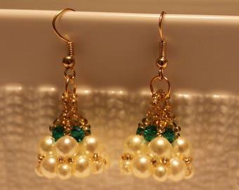 Beautiful Pearl beaded handmade dangling earrings; beadweaving, dangle and drop