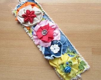 Boho Cuff Flower Bracelet - Textile Art - Gift for Her - Cuff Bracelet - Textile Cuff Bracelet- Shabby Flower Bracelet-Wrist Corsage