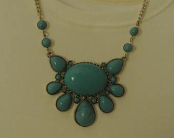 Cute Turquoise Colored Stone Statement Necklace
