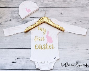 First Easter Outfit Girl, First Easter Girl, Easter Onesie® , My First Easter, Bunny Shirt, Easter Shirt, Easter Gift Girl, First Easter