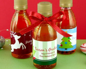 Holiday Party Favors, Personalized Holiday Syrup Favors - Set of 12