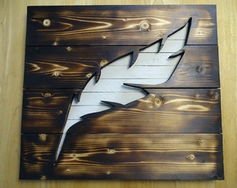 CUSTOM - Wood feather cuttout pallet wall art