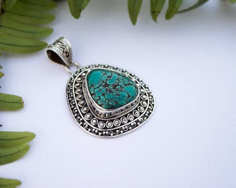 Large Turquoise Pendant,Solid Sterling Silver,Boho,Handmade, Natural Turquoise Healing Gemstone Jewelry, Birthstone, Gift, Native American