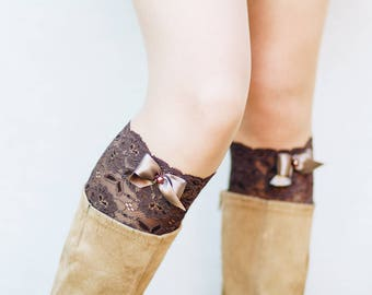 Lace Boot Cuffs / Bridesmaid Gift for Her / Lace Boot Socks / Boot Toppers / Boho Clothing // Brown White Black Turquoise Blue with Bows