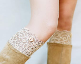 Boho Clothing / Lace Boot Cuffs / Lace Boot Socks / Boot Toppers / Leg Warmers / Boho Bridesmaid Gift for Her // Camel Light Brown