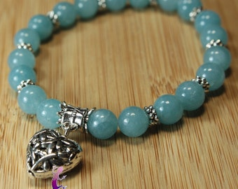 Bracelet in aquamarine with silver metal heart charm charm