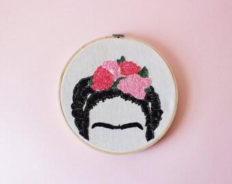 "Frida Kahlo flower hair portrait 8"" embroidery hoop art"