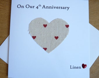 4th Wedding Anniversary Card Linen Husband Wife Four Years Marriage